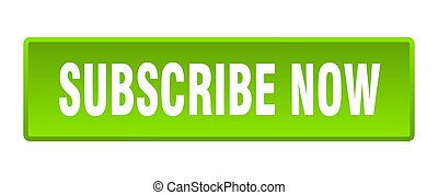 subscribe now button. subscribe now square green push button