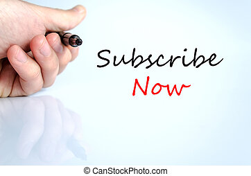 Subscribe now hand concept isolated over white background