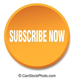 subscribe now orange round flat isolated push button