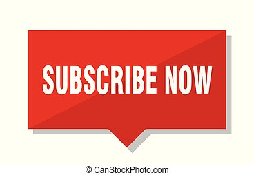 subscribe now red tag - subscribe now red square price tag