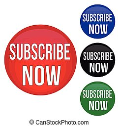 Subscribe now round website glossy buttons