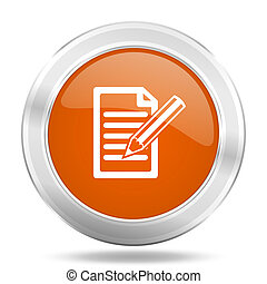 subscribe orange icon, metallic design internet button, web and mobile app illustration