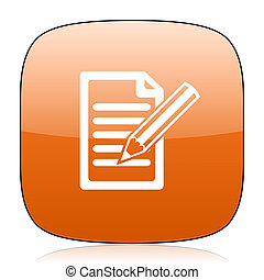 subscribe orange square web design glossy icon
