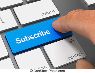 subscribe pushing keyboard with finger 3d illustration