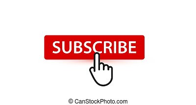 Subscribe red button with finger pointer, button for ...