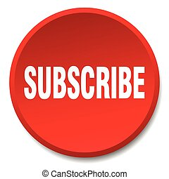subscribe red round flat isolated push button