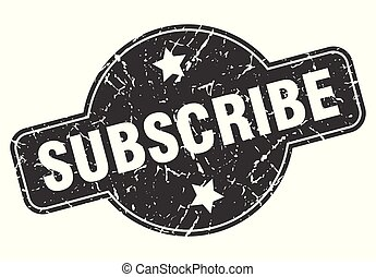subscribe round grunge isolated stamp