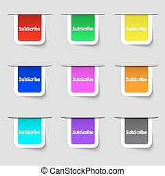 Subscribe sign icon. Membership symbol. Website navigation. Set of colored buttons Vector illustration