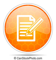 Subscribe web icon. Round orange glossy internet button for webdesign.