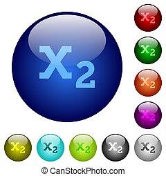 Subscript color glass buttons