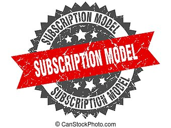 subscription model stamp. grunge round sign with ribbon - ...