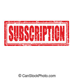 Grunge rubber stamp with word Subscription, vector illustration