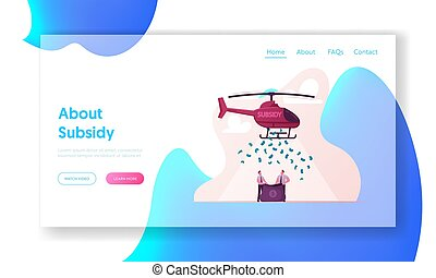 Subsidy, Governmental Help to Small Business Landing Page Template. Businessmen Characters Hold Sack Catching Dollar Falling from Helicopter. Finance Support. Cartoon People Vector Illustration