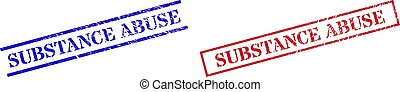 SUBSTANCE ABUSE Grunge Scratched Stamp Watermarks with Rectangle Frame