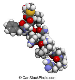 Substance P neuropeptide molecule, chemical structure. -...
