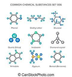 substances, isolé, chimique, vecteur, blanc, moléculaire,...