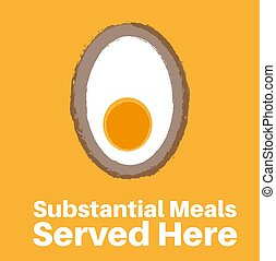 Substantial Meals served here- Scotch Egg vector illustration on a yellow background