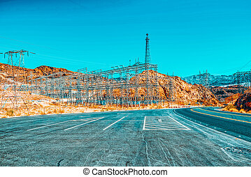 Substation and  Power Transmission Lines in american desert...