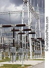 substation., courant électrique