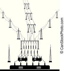substation, elétrico, grade, poder