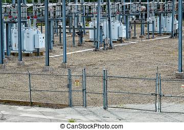 substation, entrada, elétrico