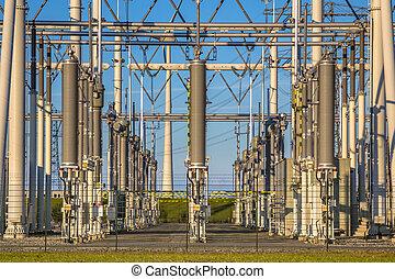 substation, industrial, poder, modernos, voltagem alta