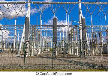 substation, poder, marca, voltagem alta, novo