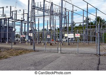 substation, portão, trancadas