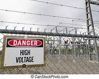 substation, transformator, met hoog voltage