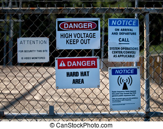 Substation Warning Signs - Warning, hardhat and danger signs...