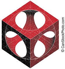 substracción, de, cubo, y, esfera
