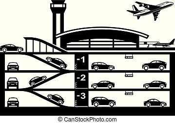 subterrâneo, aeroporto, estacionamento