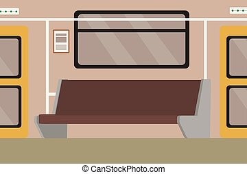 subterrâneo, car, trem, interior, metrô