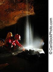 subterrâneo, caverna, rio, cachoeira