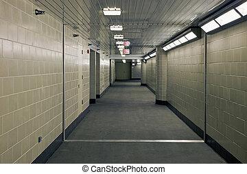 subterrâneo, corredor, garrage