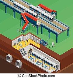 subterrâneo, isometric, ilustração
