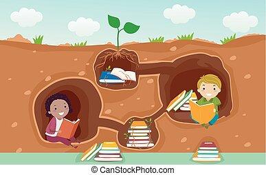 subterrâneo, livros, stickman, ilustração, crianças