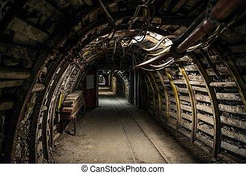 subterrâneo, mina carvão, túnel