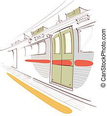 subterrâneo, plataforma, treine estação