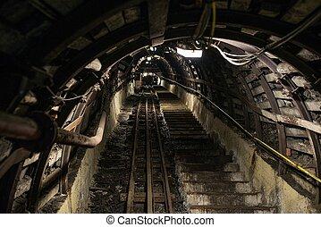 subterrâneo, pretas, mina carvão, com, barra rasteja