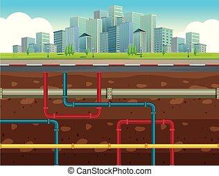 subterrâneo, sistema, cano de água