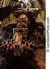subterrâneo, título, máquina, em, mina carvão