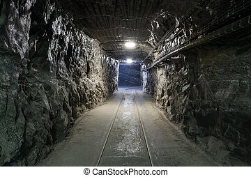 subterrâneo, túnel mina