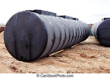 subterrâneo, tanque armazenamento, em, um, construção, local.