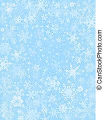 Subtle Blue Snow Background - Snow flakes on a light blue...