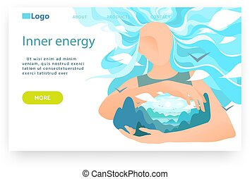 Subtle energy concept. Esoteric, human mind balance and enlightenment. Wellness, healthy lifestyle. Vector web site design template. Landing page website concept illustration
