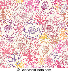 Vector subtle field flowers elegant seamless pattern background with hand drawn line art floral elements.