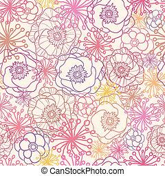 Subtle field flowers seamless pattern background