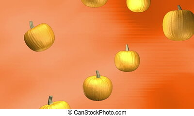 Subtle orange background with falling pumpkins loop -...