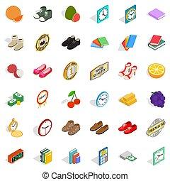 Subtlety icons set. Isometric style of 36 subtlety icons for web isolated on white background